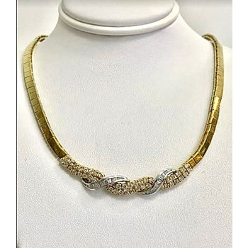 "DIAMOND NECKLACE 18K w/2.79CT TOTAL WEIGHT 16"" LONG"