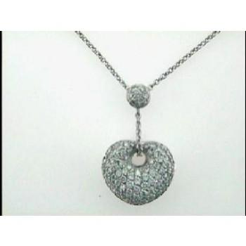 NECKLACE  14K  w/1.36CTS DIAMONDS  HEART DAYTIME
