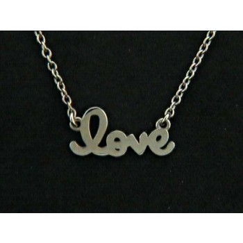 "LADIES NECKLACE 14K WHITE GOLD ""LOVE"""