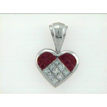 PENDANT 18K w/DIAMONDS+RUBY'S HEART