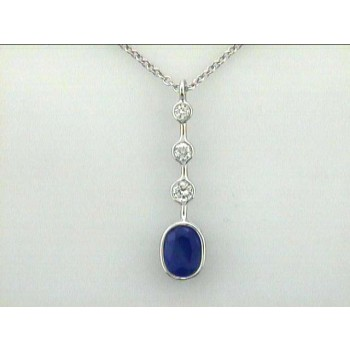 """PENDENT 14K WG w/0.26 CT DIAMOND+1.82CT SAPH. """"SPECIAL ORDER"""""""