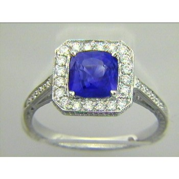 """RING  18K w/1.82CT SAPPHIRE+0.33CTS DIAM'S """"SPECIAL ORDER"""""""