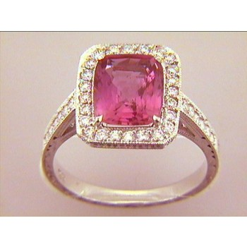 "RING  18K w/0.47CT DIAM'S+3.30CT PINK SAPPHIRE ""SPECIAL ORDER"""