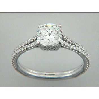 ENG. RING 18K w/0.35CTS DIAMONDS(center extra)