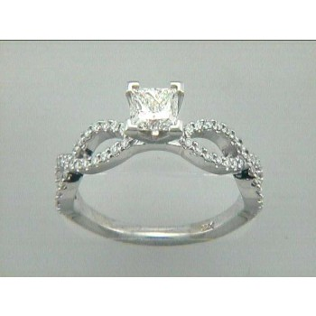 ENG. RING 14K WG w/0.28CT DIAMONDS (center extra)