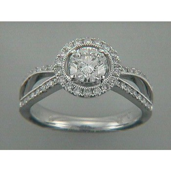 ENG. RING 18K w/0.59CT DIAMONDS (center extra)