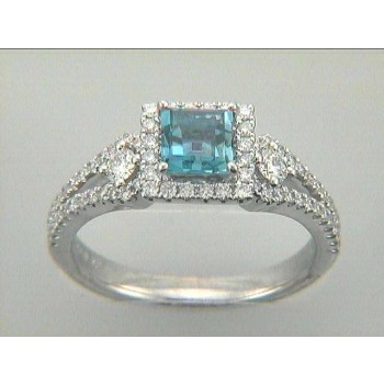 RING 18K w/0.55CT DIAMOND + 0.74CT AQUAMARINE