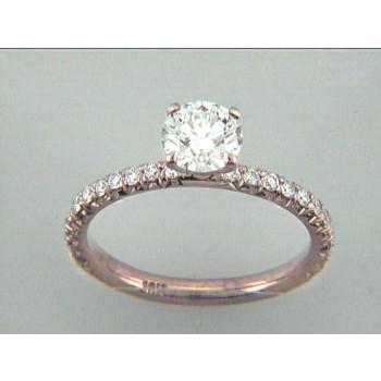 ENG. 18K PINK GOLD w/0.80CT G/SI1 GIA CENTER
