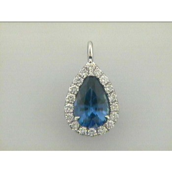 """PENDENT 18K w/0.40CT DIAMOND+2.34CT SAPPHIRE """"SPECIAL ORDER"""""""