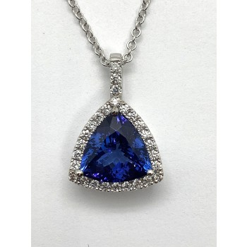 "TANZANITE PENDANT 18K WG w/3.66CT TANAZANITE + 0.30CT DIAMONDS ""SPECIAL ORDER"""