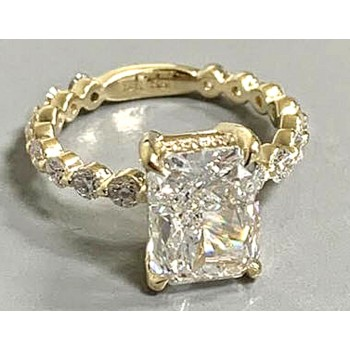 "RING 14K Y.G. w/3.02CT RADIANT E/VS2 GIA + 0.87CT SIDE DIAMONDS ""SPECIAL ORDER"""