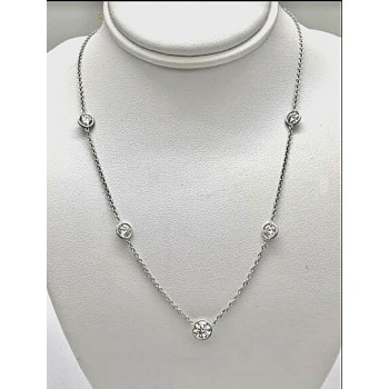 "NECKLACE 14K WG with 5-DIAMONDS AT 2.37CT T.W. 16"" ""SPECIAL ORDER"""