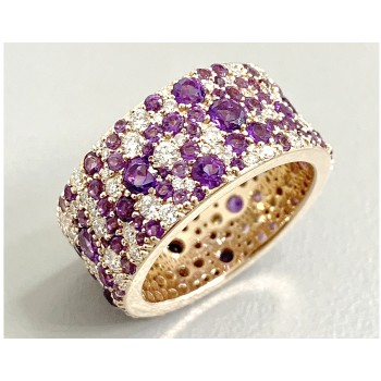 """LADIES LAB DIAMOND AND AMETHYST RING 14K ROSE GOLD """"SPECIAL ORDER"""""""