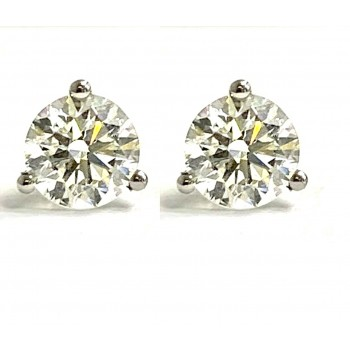 DIAMOND STUDS 14K WG w/1.80CT TOTAL G-COLOR SI2-CLARITY